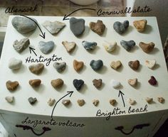 heart stones with place names