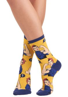 Simply Riveting Socks from ModCloth  #rosietheriveter #socks   http://www.pooppeepuke.com/2013/11/07/rosie-the-riveter-socks/