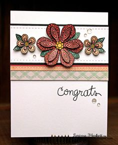 Congrats Floral Card by Larissa Heskett for the Inky Paws Challenge   Beautiful Blossoms stamp set by Newton's Nook Designs