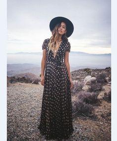 V-neck Flower Print High Waist Long Dress
