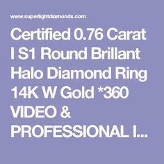 Certified 0.76 Carat I S1 Round Brillant Halo Diamond Ring 14K W Gold *360 VIDEO & PROFESSIONAL IMAGES INSIDE - Superlight Diamonds