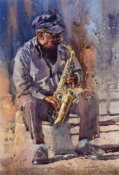 Robert Goldsmith has established his career as an illustrator and watercolourist, developing a style which combines the traditional delicacy of this medium with his contemporary interpretations of everyday scenes. Music Painting, Art Music, Painting & Drawing, Watercolor Portraits, Watercolor Paintings, Rock Poster, Jazz Art, African American Art, New Art