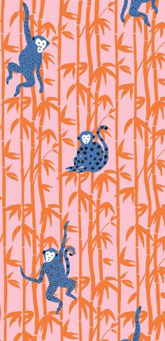Oliver Bonas 'Monkey Around' print, designed in house for fashion collection. Oliver Bonas 'Monkey Around' print, designed in house for fashion collection. Textile Pattern Design, Surface Pattern Design, Textile Patterns, Pattern Art, Print Patterns, Fabric Print Design, Blue Patterns, Orange Pattern, Monkey Illustration