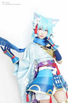 Cosplayer: Ely Cosplay. Country: Taiwan. Cosplay: Sinon (Cat Version) from Sword Art Online. https://m.facebook.com/eeelyeee/