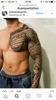 unique Tattoo Trends - Freehand polynesian tattoo, full sleeve and chest. Full Arm Tattoos, Tribal Tattoos For Men, Tribal Sleeve Tattoos, Best Sleeve Tattoos, Arm Tattoos For Guys, Trendy Tattoos, Popular Tattoos, Tribal Henna, Tattoo Women