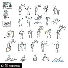 Michael Otto with ・・・ Square People on square canvas. week 4 of visual vocabula Stick Figure Drawing, Figure Sketching, Visual Note Taking, Drawing People Faces, Doodle People, Visual Map, Banner Drawing, Note Doodles, Vocabulary Practice