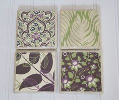 Love these coasters. This is scrapbook paper on cermic tiles. They have been sealed and waterproofed.