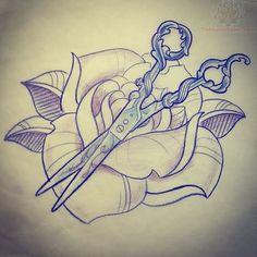 Rose And Scissor Tattoo Design