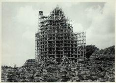Prambanan, Shiva Temple in bamboo and wood scaffolding for restoration. (Photo: D. Scaffolding, New York Public Library, Shiva, Skyscraper, Temple, Restoration, Bamboo, Multi Story Building, Explore