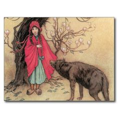 Vintage Little Red Riding Hood by Warwick Goble Postcards