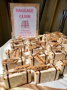 Baggage Claim Favor Sign, travel-themed baby shower, travel-themed bridal shower