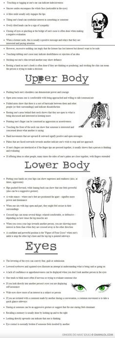 "Body Language – Cheat Sheet - Could use in a ""show, don't tell"" writing activity to describe character behavior"
