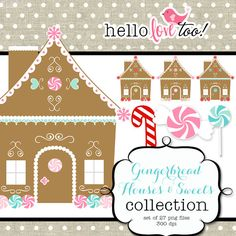 INSTANT DOWNLOAD Gingerbread House and Sweets digital clipart collection graphic