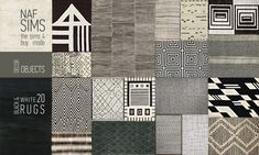 Mod The Sims: Black & White Rug Collection by nafSims • Sims 4 Downloads
