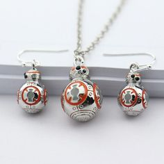 BB-8 Robot Pendant Crystal Necklace/Earrings Star Wars merchandise http://funstarwars.com/shop/star-wars-jewelry/bb-8-robot-pendant-crystal-necklaceearrings/ 20.40 Item Name:Jewelry Sets Jewelry Sets Type:Necklace/Earrings Meterial:Zinc Alloy,Silver Plated,Black Crystals Colors:Orange,White Enamel Shape/Pattern:3D BB-8 Necklace pendant Size:2cm*1.3cm Earrings Drop Size:1.6cm*1.1cm Necklace Weight:18g Earrings Weight:13g