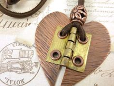 Hinged Heart Necklace Mixed Metal Copper Brass by ATwistOfWhimsy, $48.00