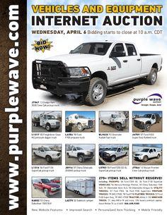 Vehicles and Equipment Auction April 6, 2016 http://purplewave.com/a/160406
