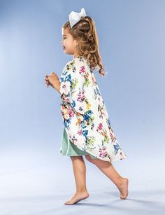 Navy Floral Kimono Cardigan with Crochet Trim Size 2T left | Products