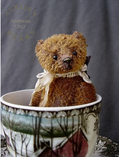 "Miniature Tea Cup Bear Ambrose 3 3/4""  by Aerlinn Bears"