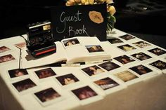 Polaroid wedding guest book. Maybe I could have someone stand there and help so chaos is minimal