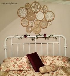 crochet vintage doilies on embroidery hoops wall collage, bedroom ideas, crafts, repurposing upcycling, wall decor