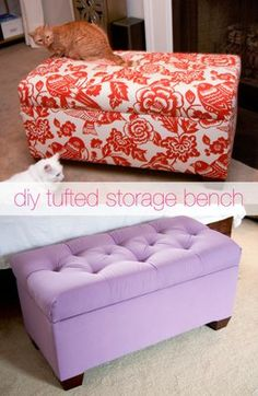 glitter and goat cheese diy tufted storage bench tutorial
