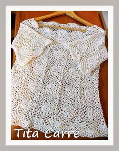 Tita Carré  Agulha e Tricot : Blusa cru com squares e barrados em crochet
