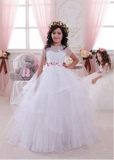 Wedding Party Dress Flower Girl Dresses Generous 2019 Free Shipping Custom Made Luxurious Pink Flower Girl Dresses For Party And Wedding Vestido Daminha Longo Carefully Selected Materials