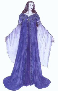 """Concept art by Ngila Dickson for Arwen in Requiem Dress and cloak from """"The Lord of the Rings: the Two Towers"""" (2002).  Silk-velvet in deep blue formed the jumper, which was accented with heavily antiqued Indian silver bullion."""