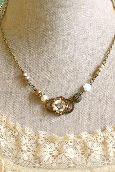 Anna.vintage enamel, rhinestone, floral, beaded necklace. Tiedupmemories