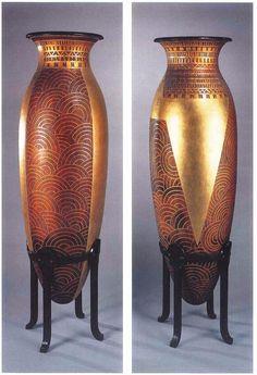 Jean Dunand // Art Deco pair of vases Clay Vase, Ceramic Vase, Sheet Metal Crafts, Art Deco Furniture, Hall Furniture, Art Nouveau, 23 November, Pots, Art Deco Period