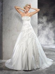 Ball Gown Strapless Beading Sleeveless Court Train Satin Wedding Dresses #Joancee #Jewelry