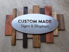 Metal and reclaimed wood sign Storefront Signage, Metal Signage, Outdoor Signage, Custom Metal Signs, Vintage Metal Signs, Salon Signs, Building Signs, Aluminum Signs, Wine Signs