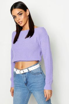 Womens Crop Slash Neck Fisherman Sweater - purple - S/M Sequin Sweater, Cropped Sweater, Naruto Costumes, Polo Neck, Sweater Design, Pullover, Night Out, Knitwear, Beautiful Women