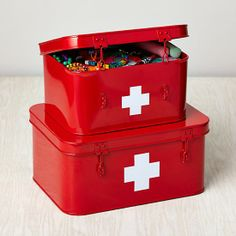 Store More Metal Boxes, First Aid, Set of 2 - contemporary - Storage Boxes - The Land of Nod Bath Storage, Kids Storage, Craft Storage, Storage Ideas, Survival Shelter, Survival Prepping, Survival Gear, Wilderness Survival, Survival Skills