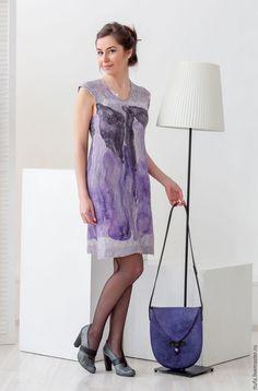 """Купить Валяное платье """"В море фиолетовых чернил"""" - тёмно-фиолетовый, абстрактный, Платье нарядное"""