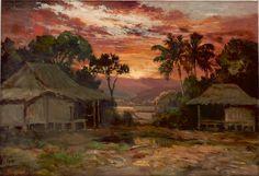 Abdullah Suriosuborto - An Indonesian Village at sunset Landscape Art, Landscape Paintings, Oil Paintings, Philippine Art, Indonesian Art, Impressionism, Palm Trees, Places To Travel, Photo Art