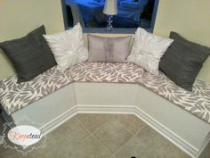 DIY bench seating for less than $100! I'd change the fabric.. could we do it ourselves????