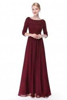 langes abendkleid mit eleganter spitze bordeaux rot  günstig bestellen bei vip dress  just