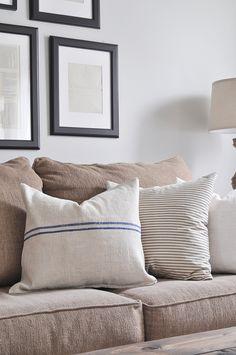 No Sew Grain Sack Pillows
