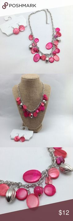 """Pink and silver necklace & earring set Pink disc earrings with silver necklace featuring pink discs, silver & pink beads. 9"""" drop with 3"""" extender. The chain has 2 different types of links. Jewelry Necklaces"""