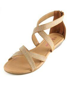 Tan Rhinestone Sony Sandal #zulily #zulilyfinds