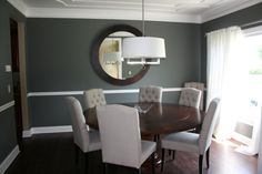 My dining room! Amherst Gray by Benjamin Moore. LOVE it!