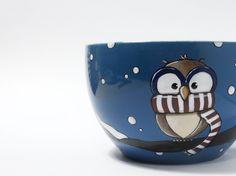 Large owl cereal bowl , bowl with chilly owl, owl mug, christmas gift, gift for…