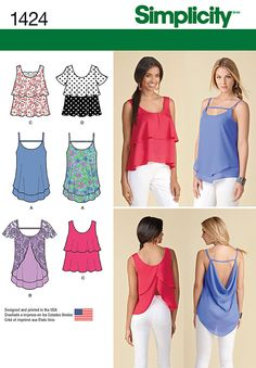 Simplicity Pattern 1424D5 4-6-8-10-1-Misses Tops Vests