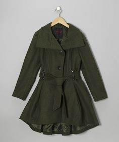 Love this Olive Trench Coat - Girls on #zulily! #zulilyfinds