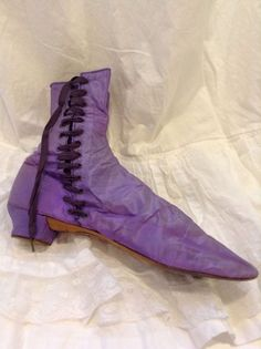 """Ca. early 1860s purple silk side-lacing boots with label on bottom, """"Hobart."""" Ebay seller  victorianrose1."""