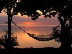 Hammock by the sea at twilight