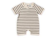Organic Cotton Romper, Black Stripe by SoftBaby