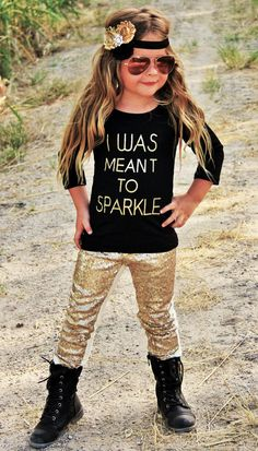 I Was Meant To Sparkle Gold Glitter Top & Sequin Pant Boutique Set Outfit Infant Toddler Girls Sizes 1-2 to 8-9 by SwankyDudzBoutique on Etsy